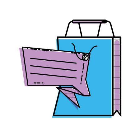 shopping bag with commercial tag hanging vector illustration design Ilustração