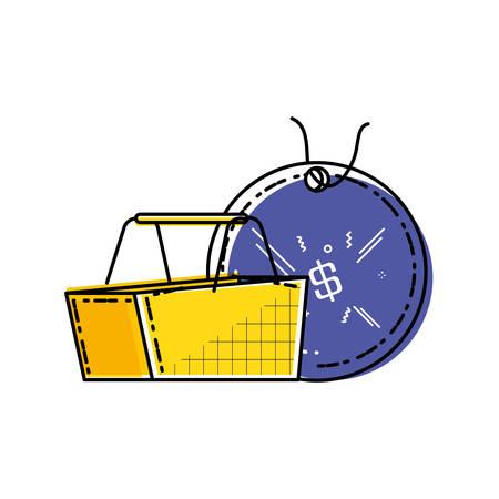 shopping basket with commercial tag hanging vector illustration design Illustration