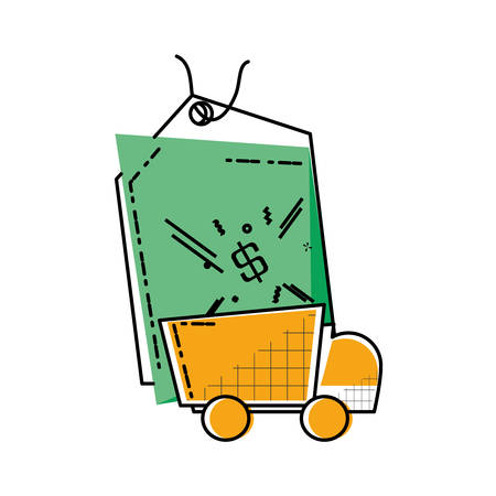 delivery service truck with commercial tag hanging vector illustration design