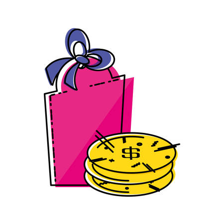 pile coins dollar with commercial tag vector illustration design