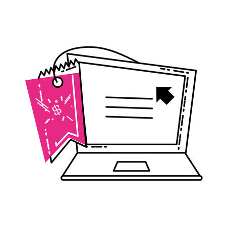laptop computer with commercial tag hanging vector illustration design Ilustração