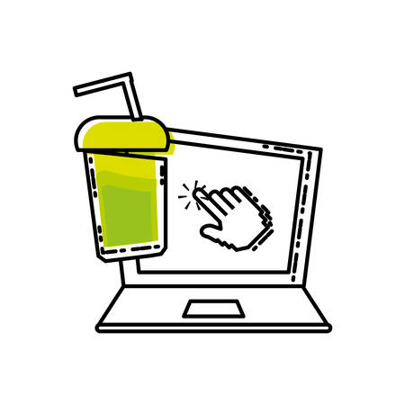 laptop computer with bottle beverage vector illustration design