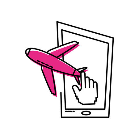 smartphone device with airplane vector illustration design