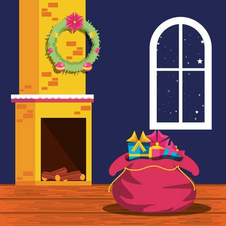christmas gifts inside of house vector illustration design
