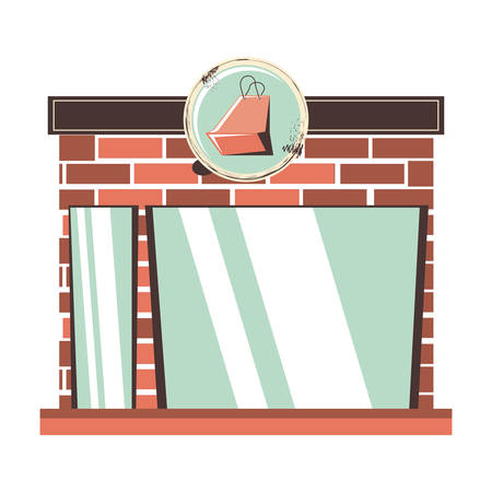 store building facade with shopping bag vector illustration