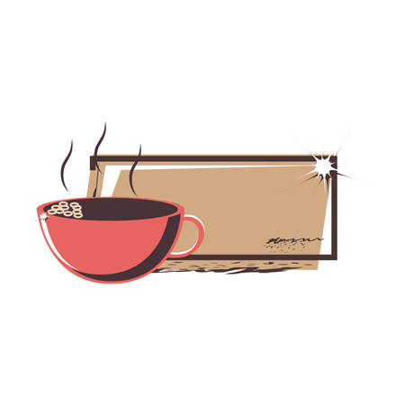 coffee cup elegant frame vector illustration design