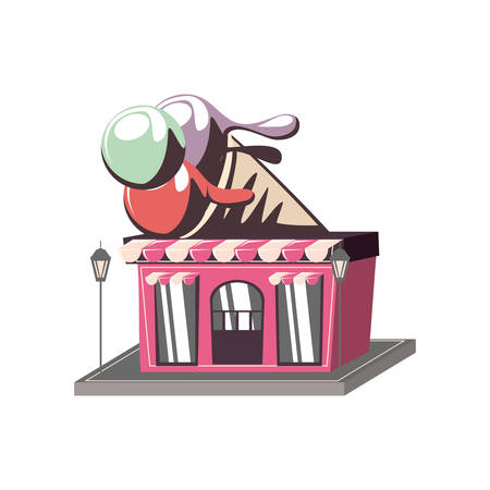 ice cream shop building vector illustration design Vettoriali
