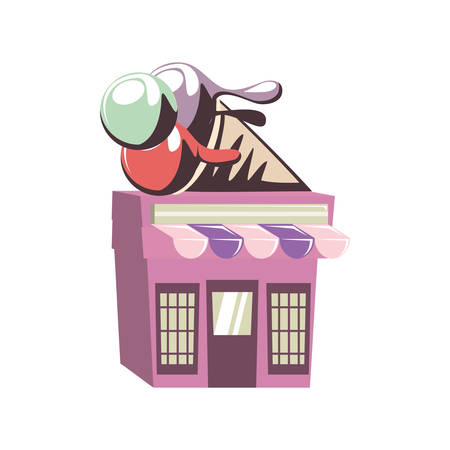 ice cream shop building vector illustration design Illusztráció