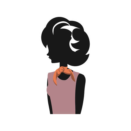 woman silhouette retro style vector illustration design