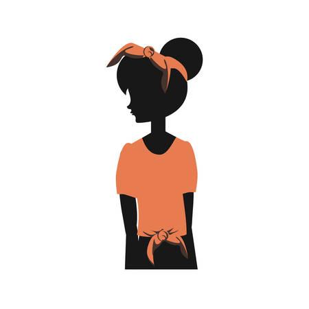 woman silhouette retro style vector illustration design