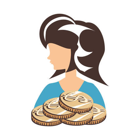 beautiful woman with coins retro style fashion vector illustration design