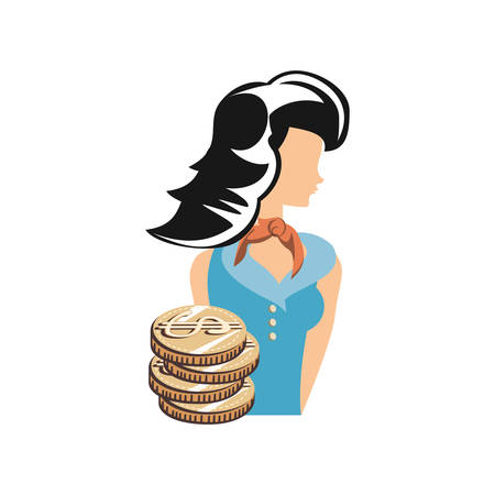 beautiful woman with coins retro style fashion vector illustration design Illustration