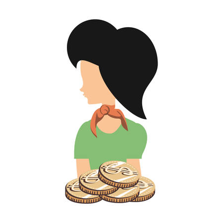 beautiful woman with coins retro style fashion vector illustration design Ilustração