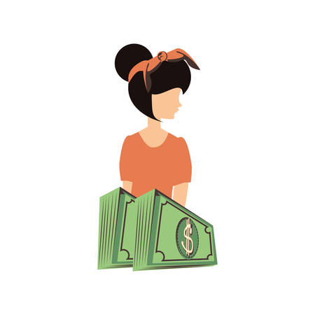 beautiful woman with bills dollars retro style vector illustration design