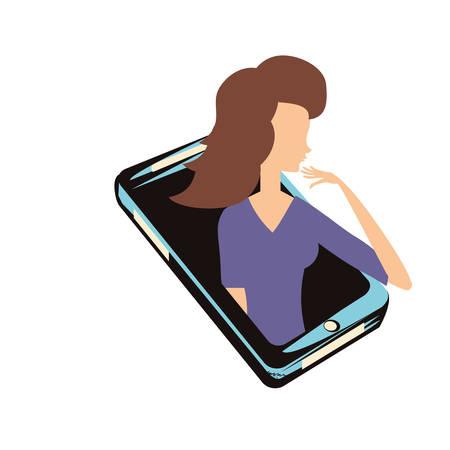 woman retro in smartphone vector illustration design Illustration