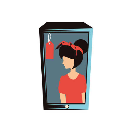 woman retro in smartphone with commercial tag vector illustration design