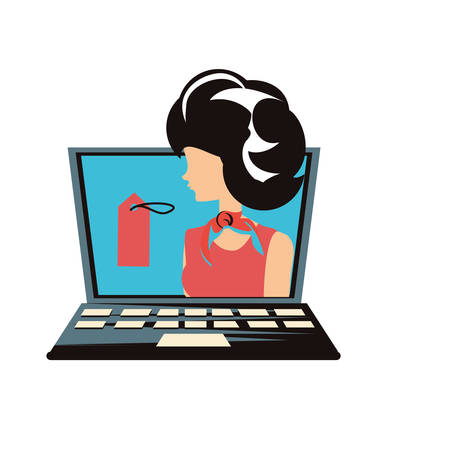 woman retro in laptop with commercial tag vector illustration design