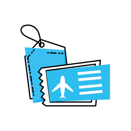 airplane ticket with tag commercial vector illustration design