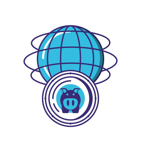 sphere browser with piggy vector illustration design Illustration