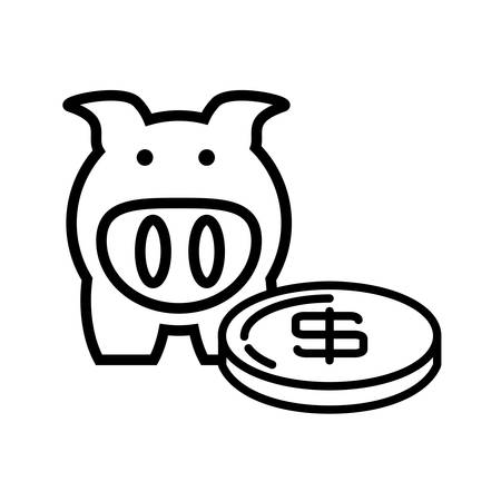 piggy savings isolated icon vector illustration design Stock Illustratie