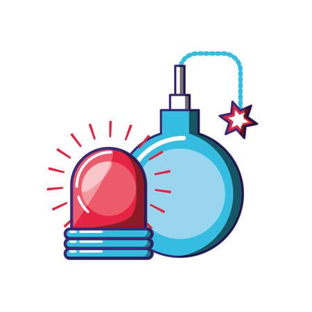 explosive bomb with alarm light emergency vector illustration design