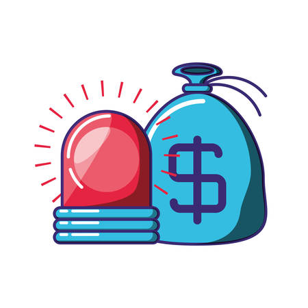 bag money with alarm light vector illustration design