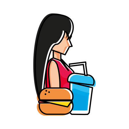 young woman with hamburger and beverage vector illustration design Illustration