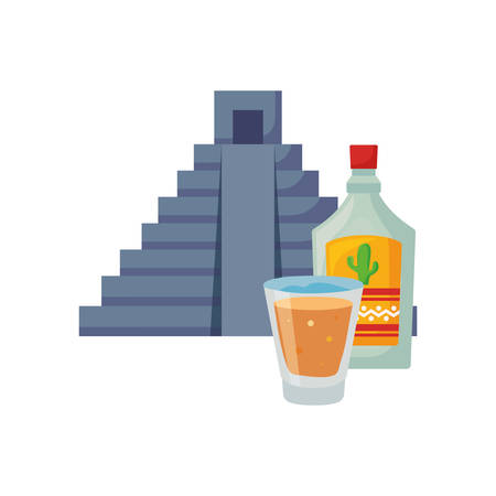 pyramid tequila drink day of the dead vector illustration