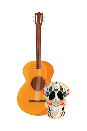 guitar and skull day of the dead vector illustration  イラスト・ベクター素材