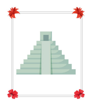 pyramid structure mexican culture traditional vector illustration
