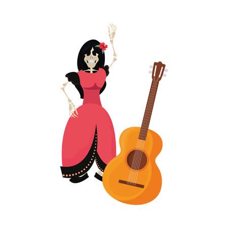 catrina skeleton guitar day of the dead vector illustration  イラスト・ベクター素材