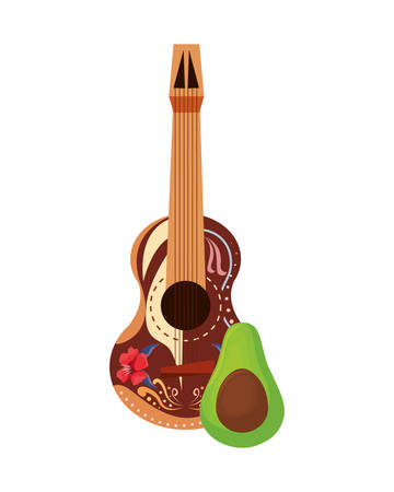 guitar and avocado day of the dead vector illustration Illustration