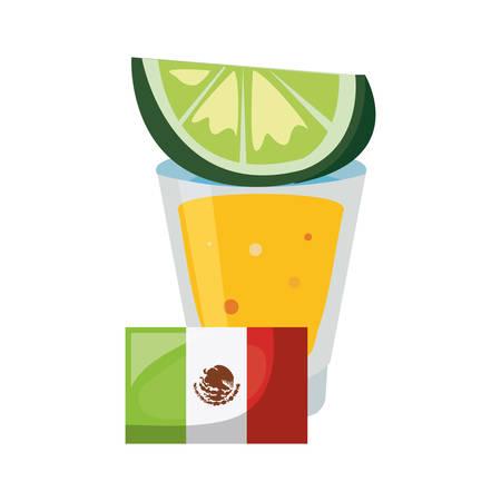 tequila shot flag and lemon day of the dead vector illustration Illustration