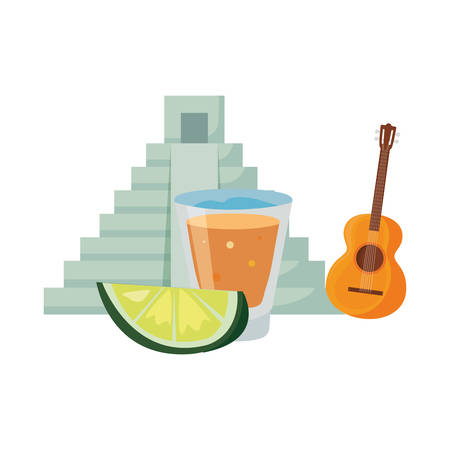 pyramid guitar tequila shot day of the dead vector illustration