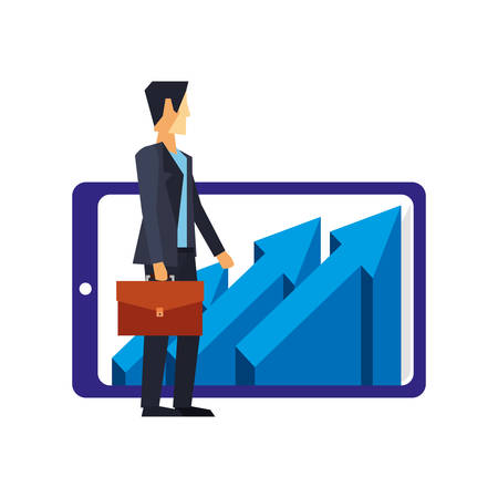 businessman with briefcase cellphone and arrows vector illustration  イラスト・ベクター素材