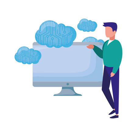 businessman computer and clouds storage vector illustration