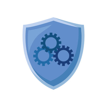 shield protection gears on white background vector illustration
