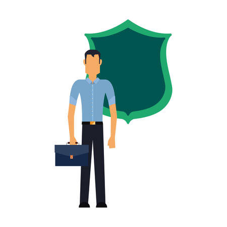 businessman with briefcase shield protection vector illustration Illustration