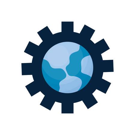 world gear on white background vector illustration Illustration