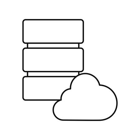database server cloud storage white background vector illustration outline vector illustration