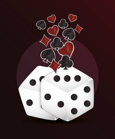 dices suits cards casino gamble vector illustration