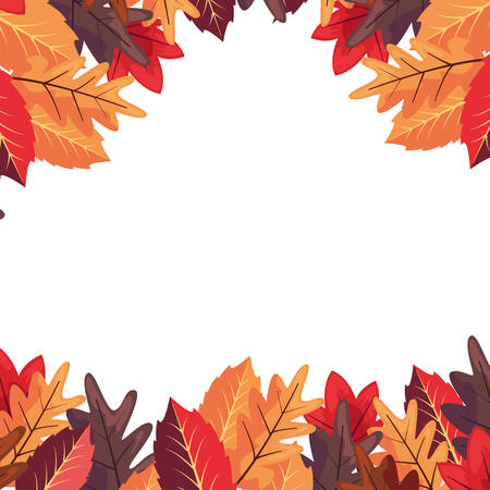 autumn leaves foliage frame decoration vector illustration  イラスト・ベクター素材