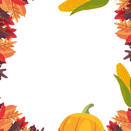 pumpkin corn autumn foliage thanksgiving celebrate vector illustration