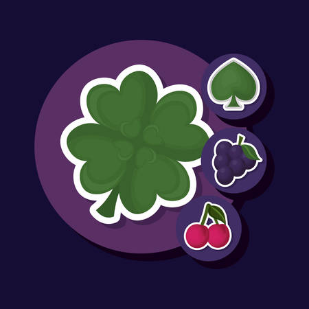 casino gamble clover fruits sticker vector illustration Vectores