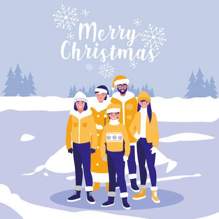 group of family with clothes christmas in winter landscape vector illustration design