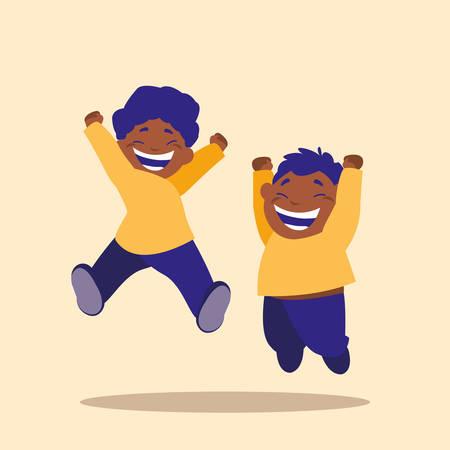 cute little children jumping avatar character vector illustration design