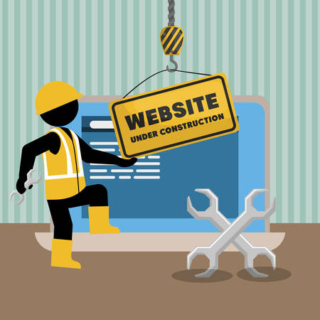 website under construction with laptop vector illustration design Ilustração