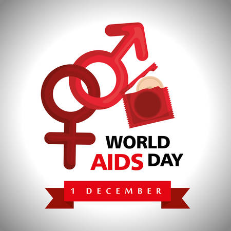 world aids day with condoms vector illustration design Illustration