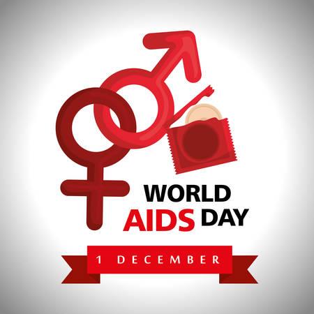 world aids day with condoms vector illustration design Çizim