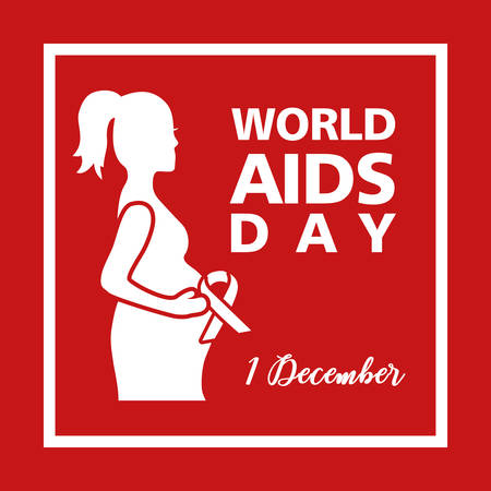 world aids day with woman pregnancy vector illustration design